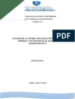 ENSAYO-ANALISIS DE LA TEORÍA ORGANIZACIONAL DE UNA EMPRESA CON ÉNFASIS EN LOS MODELOS ADMINISTRATIVOS.