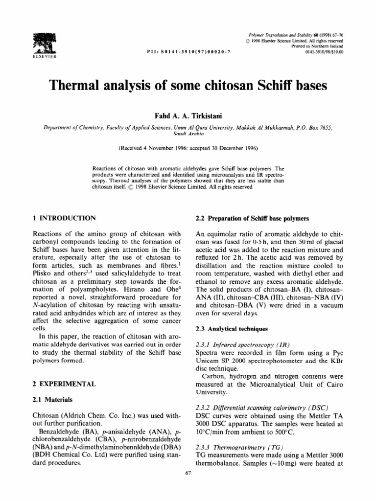 Thermal Analysis Of Some Chitosan Schiff Bases Differential Scanning Calorimetry Materials Essai Gratuit De 30 Jours Scribd