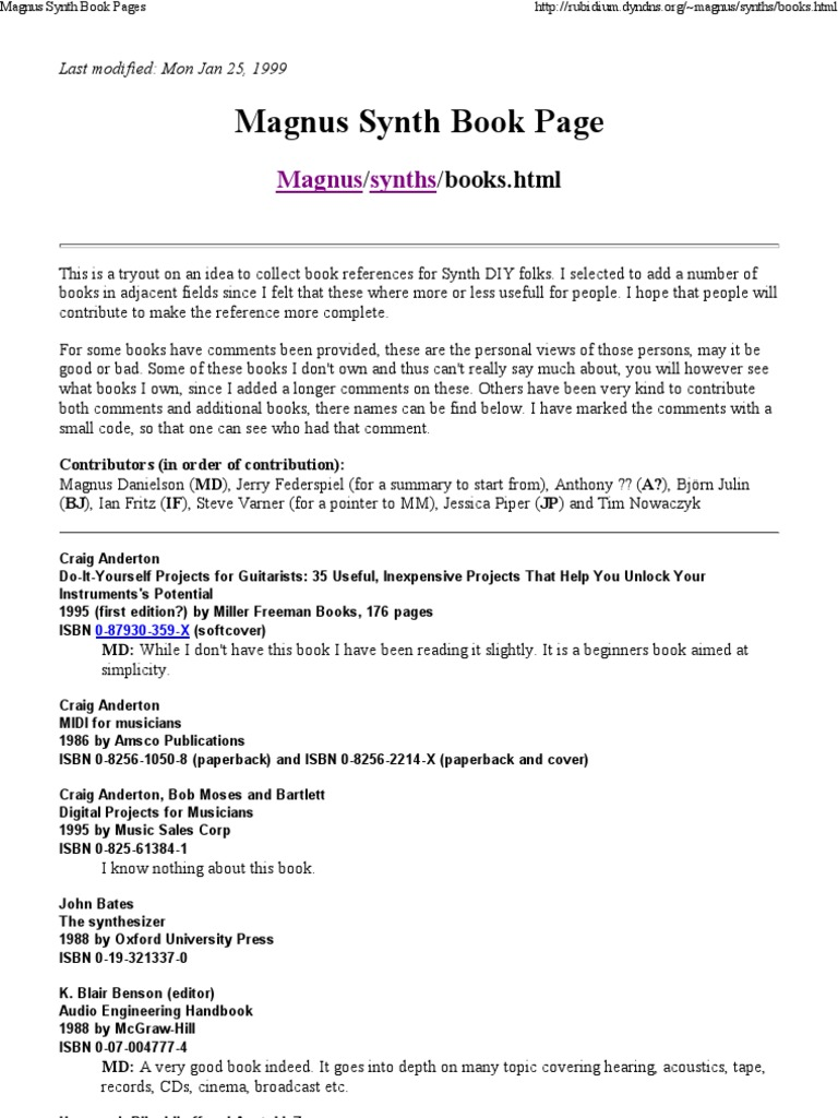 Magnus Synth Book Pages Synthesizer Electronic Music Analog Integrated Circuits Free Pdf Bookstore