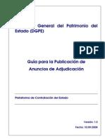 Guia sobre cómo publicar la adjudicación de un contrato en la Plataforma de Contratación del Estado