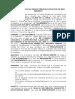 CONTRATO PRIVADO DE TRANSFERENCIA DE POSESION DE BIEN INMUEBLE