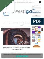 Profundidad o alcance de los estudios cuantitativos - Investigalia