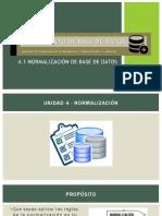 4.1 Normalización de Base de datos
