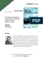 """Press Release """"AVA und die STADT des schwarzen Engels"""" von Andreas Dresen"""
