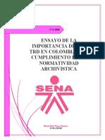 ENSAYO DE LA IMPORTANCIA DE LAS TRD EN COLOMBIA Y EL CUMPLIMIENTO DE LA NORMATIVIDAD ARCHIVISTICA -Sheryl Parra