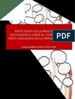 RESULTADOS DE LA INVESTIGACION BIBLIOGRAFICA NO.03 SOBRE EL COMENTARIO DE TEXTOS