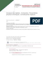 2015 Publi SCL13 - Analyse des lipides - tehcniques de l'ingénieur - Extraction-paramètres physico-chimiques - constituants majeurs