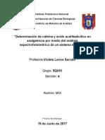 Determinación de cafeína y ácido acetilsalicílico en analgesicos por medio del análisis espectrofotométrico de un sistema múltiple