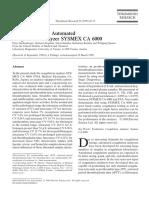 Evaluation of the Automated Coagulation Analyzer SYSMEX CA 6000