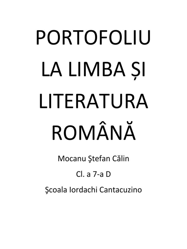 PORTOFOLIU LA LIMBA ŞI LITERATURA ROMÂNĂ