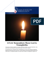 LULAC Remembers Those Lost to Transphobia