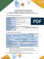 Guía de actividades y rúbrica de evaluación - Fase 1 - Conceptualizar, identificar, reflexionar y argumentar en los foros