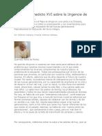 Carta de Benedicto XVI sobre la Urgencia de la Educación