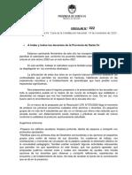 Circular N° 022-20 - Ministerio de Educación de Santa Fe