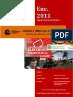 Boletín mensual de noticias, Enero 2011.
