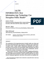 Public Health Informatics How Infomration Age Technology Can Strengthen Public Health