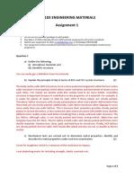 Assignment 1 Marking scheme