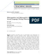 Metacognition and Metacognitive Instruction in Second Language Writing Classrooms
