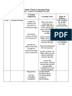 Weekly Home Learning Plan Entrep module