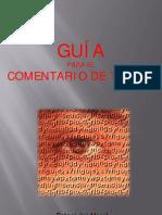 GUÍA PARA EL COMENTARIO DE TEXTO
