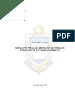NORMATIVA DE FUNCIONAMIENTO DE LOS TRABAJOS DE GRADOS observaciones