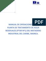 MANUAL DE OPERACIONES DE LA PLANTA DE TRATAMIENTO DE AGUA RESIDUALES 070619 .......version 1 con rev fcv.