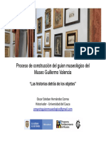 La creación del guion museológico del Museo Guillermo Valencia de Popayán