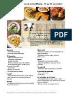 Menus de La Cuisine de Meme Moniq Du 14 Au 20 Novembre