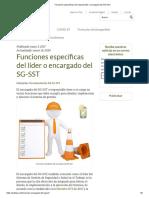 Funciones específicas del responsable o encargado del SG-SST