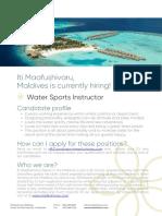 Lti Maafushivaru, Maldives is Currently Hiring Water Sports Instructor!