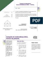 Campaña de matemáticas, tercero primaria.