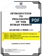 INTRODUCTION TO PHILOSOPHY OF THE HUMAN PERSON LAS Q2 WEEK 1-4
