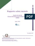 Rapporto Salute Mentale 2016