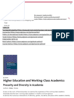Higher Education and Working-Class Academics - Precarity and Diversity in Academia _ Teresa Crew _ Palgrave Macmillan