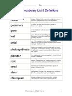 Plants Vocabulary List & Definitions