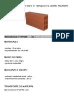 APU para un muro en mampostería ladrillo 10x20x40