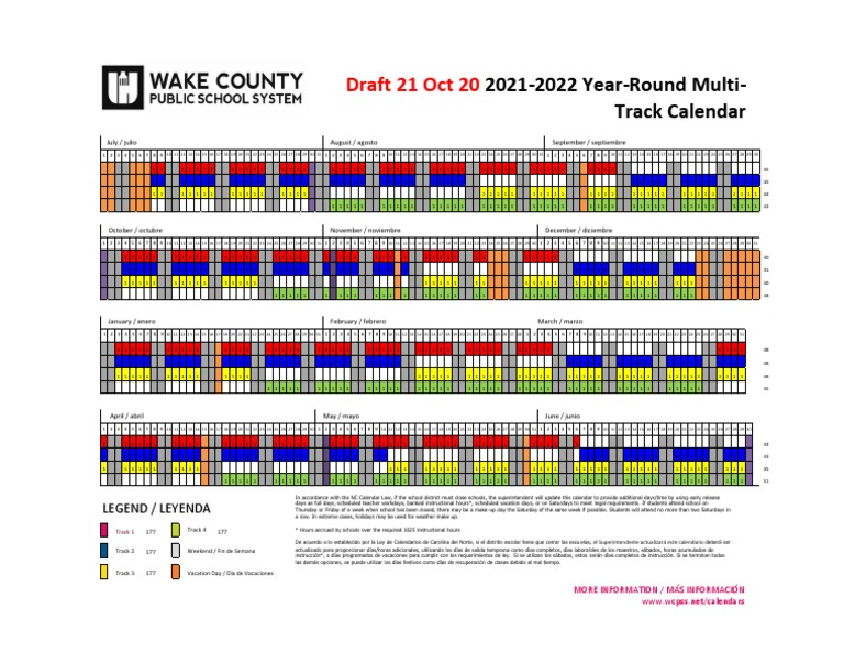 Wake County Traditional Calendar 2022.Draft 2021 22 Wcpss Multi Track Year Round Calendar Leisure