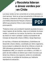 Vitacura y Recoleta lideran ranking de áreas verdes por habitante en Chile - La Tercera