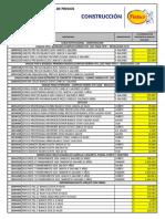 Lista de Precios Construaliados Febrero 26 2018 CONSTRUCTOR -  CONTRATISTA