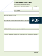 Format for evaluation of an investigation in science
