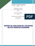 Rapport de l'évaluation de l'utilisation des kits opération césarienne