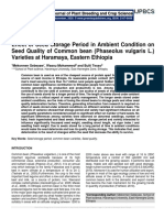 Effect of Seed Storage Period in Ambient Condition on Seed Quality of Common bean (Phaseolus vulgaris L.) Varieties at Haramaya, Eastern Ethiopia