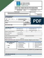 FORMATO DE CREACION DE PROVEEDORES