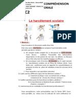 2020 - DALF C2 - COMPREHENSION ORALE - LE HARCELEMENT SCOLAIRE - SUJET ELEVES