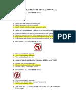 CUESTIONARIO DE EDUCACIÓN VIAL