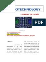 Nanotechnology - Shaping the Future