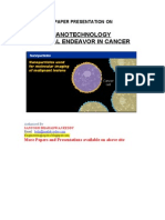Nanotechnology Critical Endeavor in Cancer