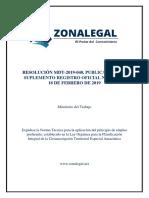 RESOLUCION MDT 2019040 EXPIDESE LA NORMA TECNICA PARA LA APLICACION DEL PRINCIPIO DE EMPLEO