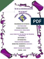 CASO PRÁCTICO  DE RENTAS DE PRIMERA CATEGORIA - YESICA