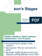 Erikson's Stages (adolescence to early adulthood)